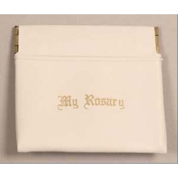 Push open Rosary pouch - white