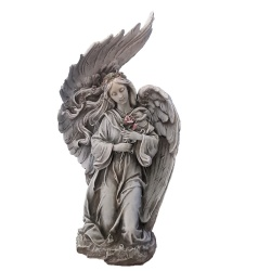 Kneeling Angel With Rose 13 inch garden statue